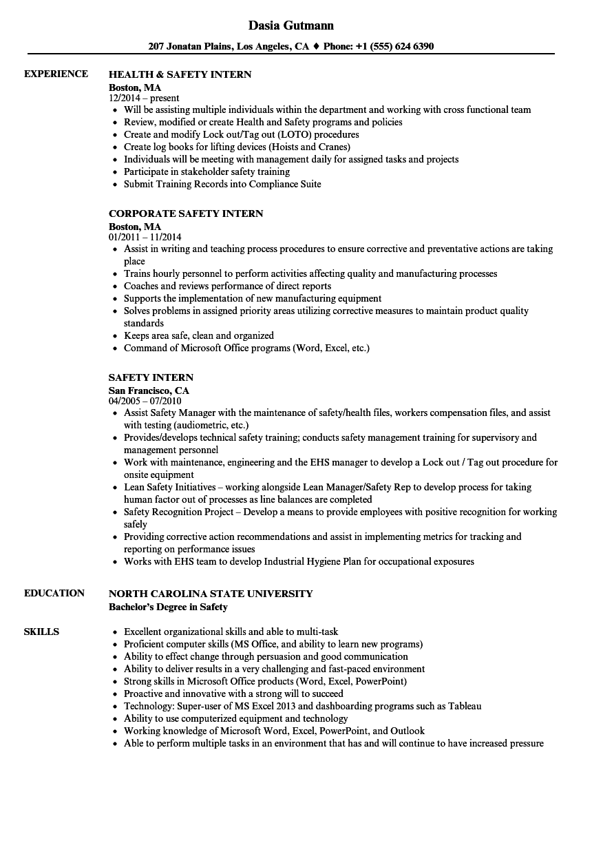 Safety Intern Resume Samples | Velvet Jobs