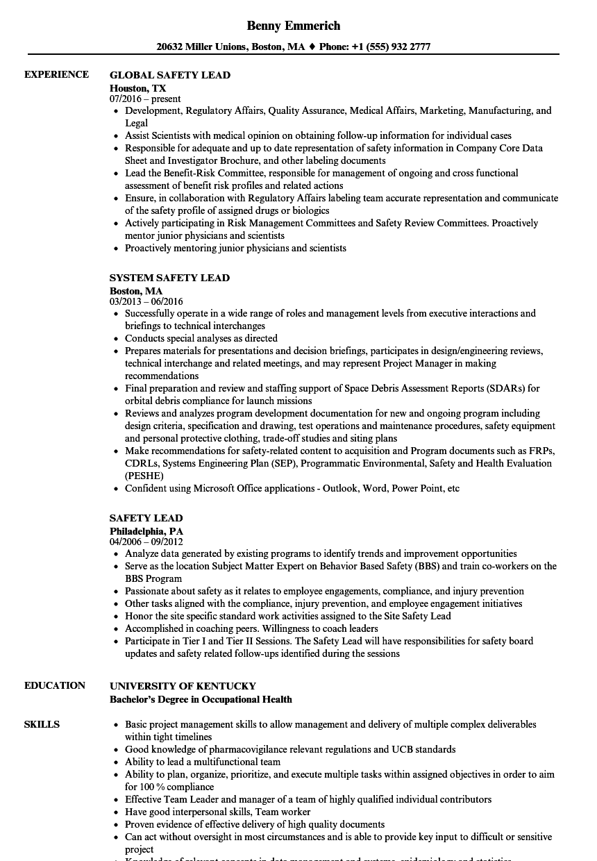 safety lead resume samples