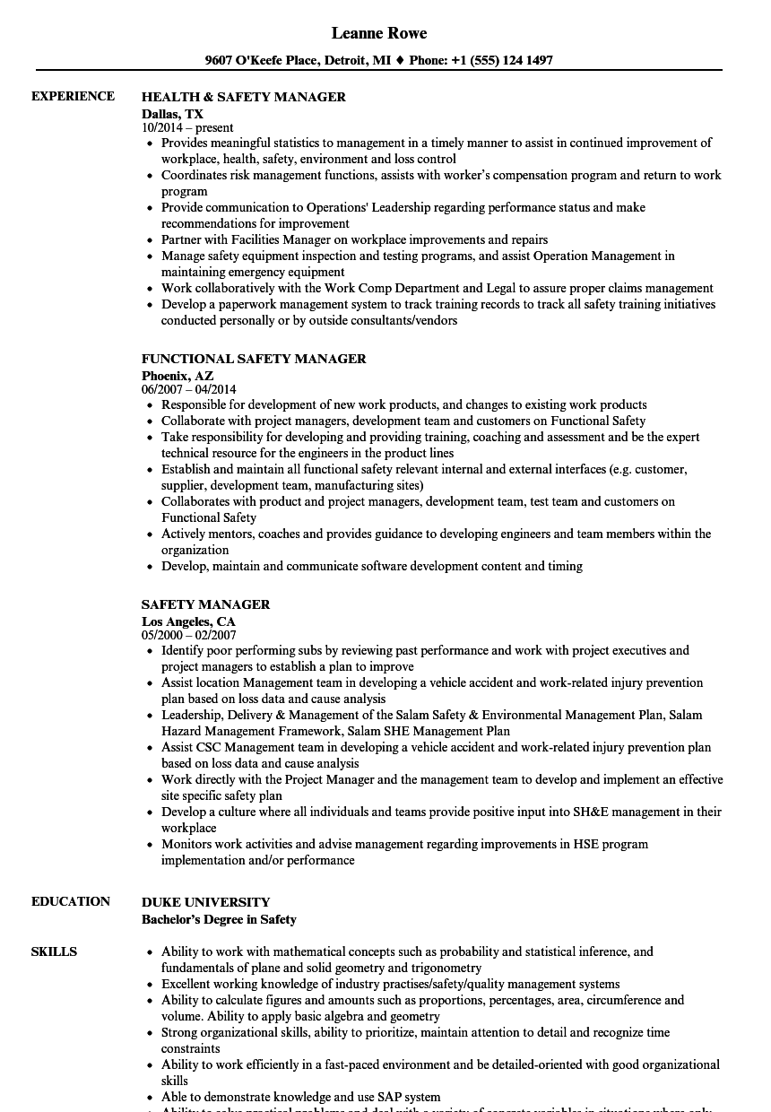 safety manager resume samples