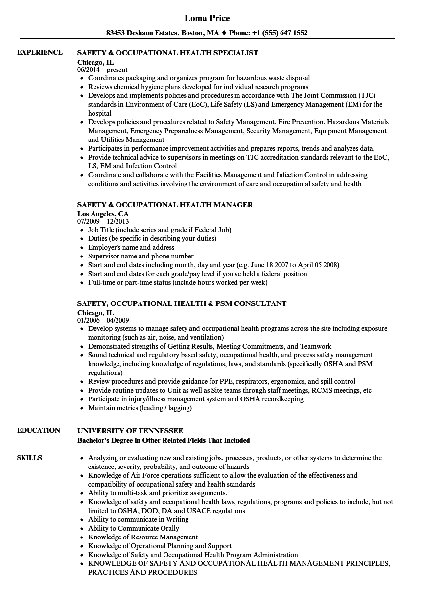 safety occupational health resume samples velvet jobs