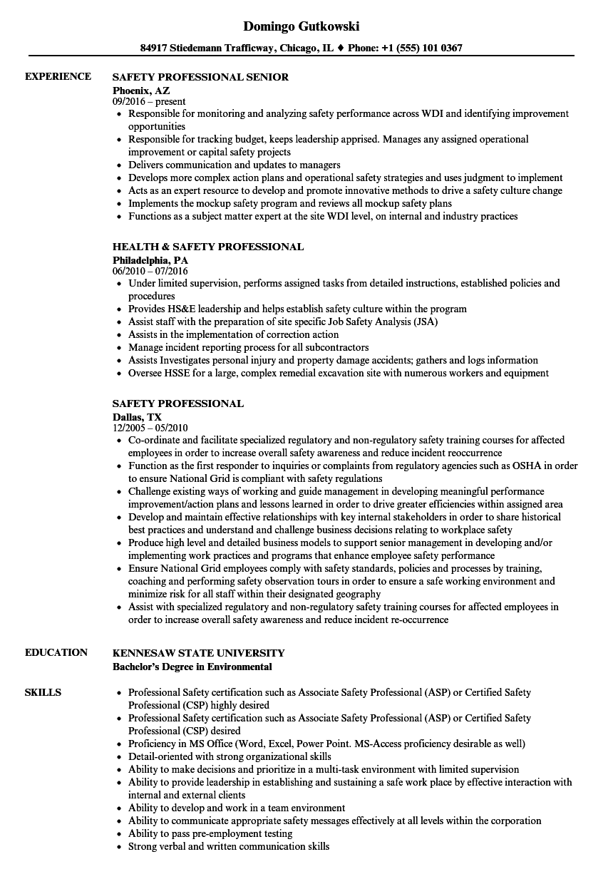 Safety Professional Resume Samples | Velvet Jobs