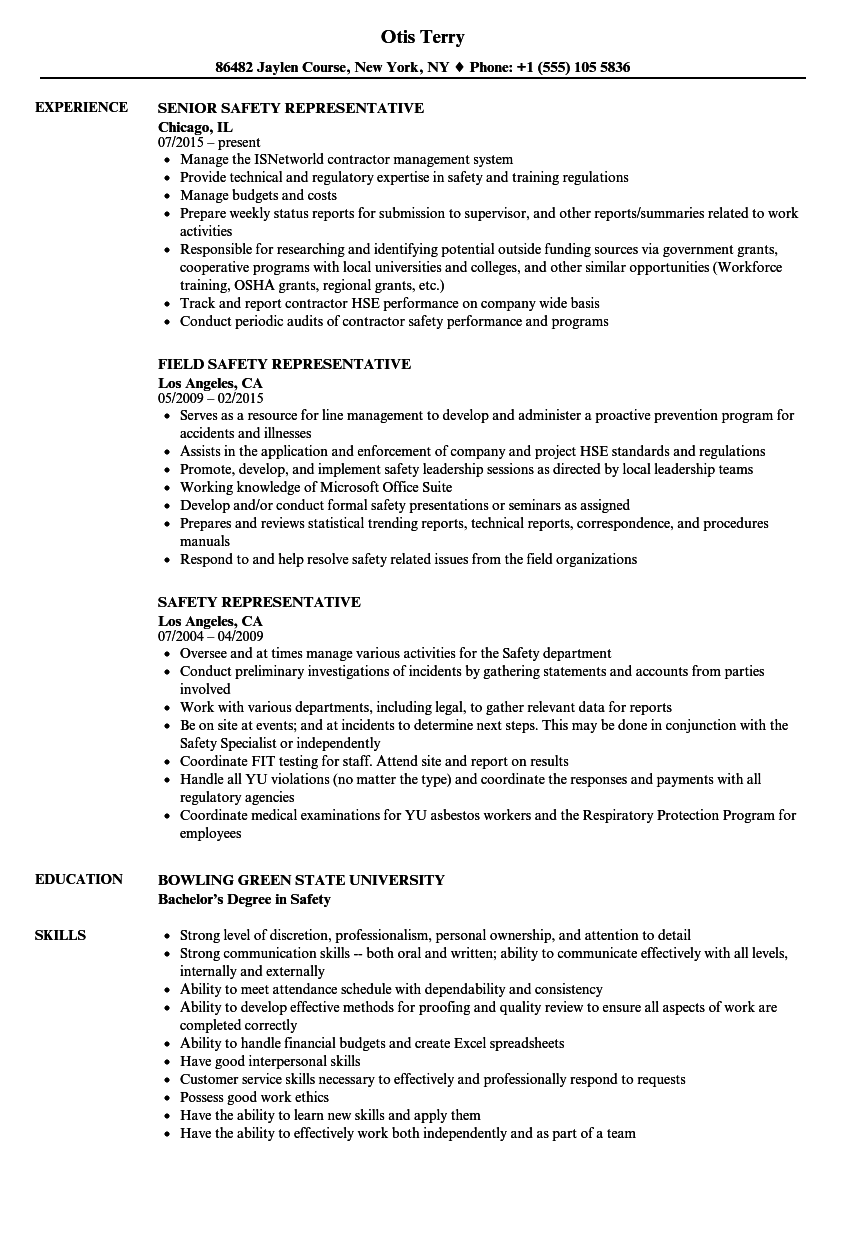 Safety Representative Resume Samples Velvet Jobs