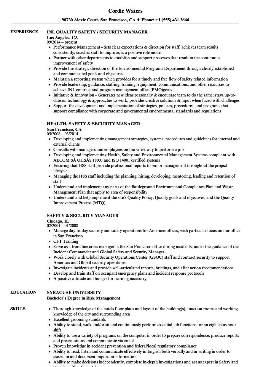 safety  u0026 security manager resume samples