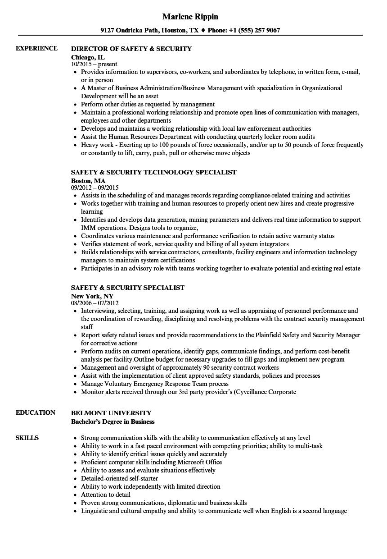 safety  u0026 security resume samples
