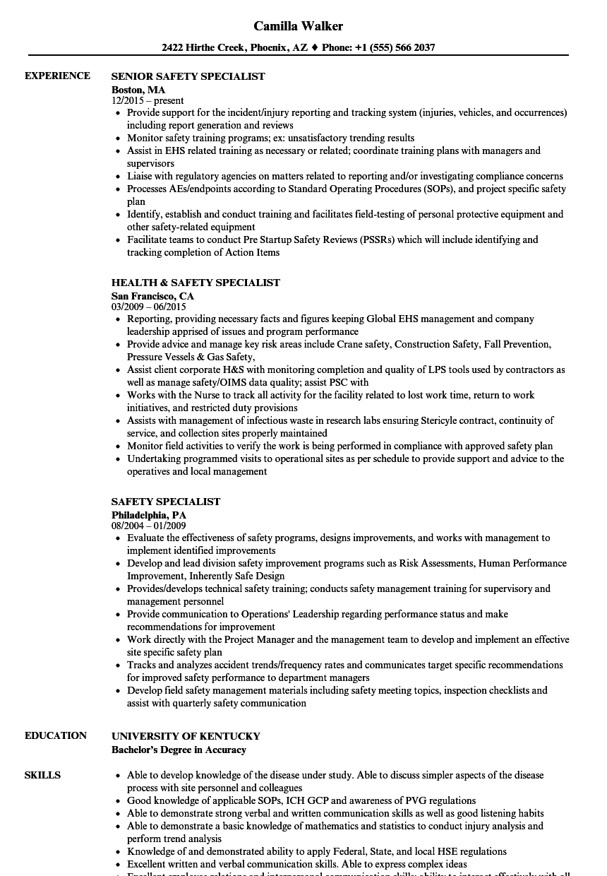 Safety Specialist Resumes. Safety Specialist Resume Samples ...