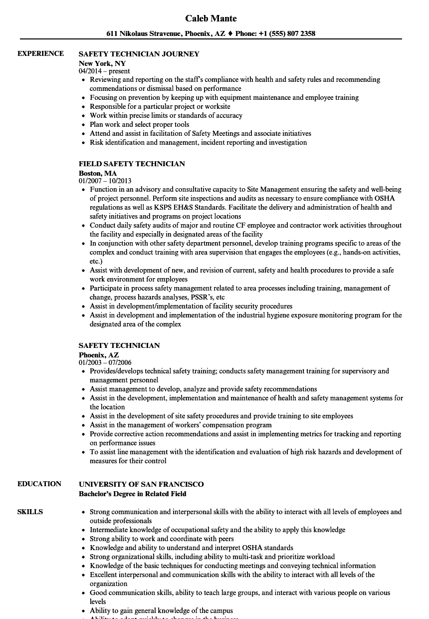 Safety Technician Resume Samples | Velvet Jobs