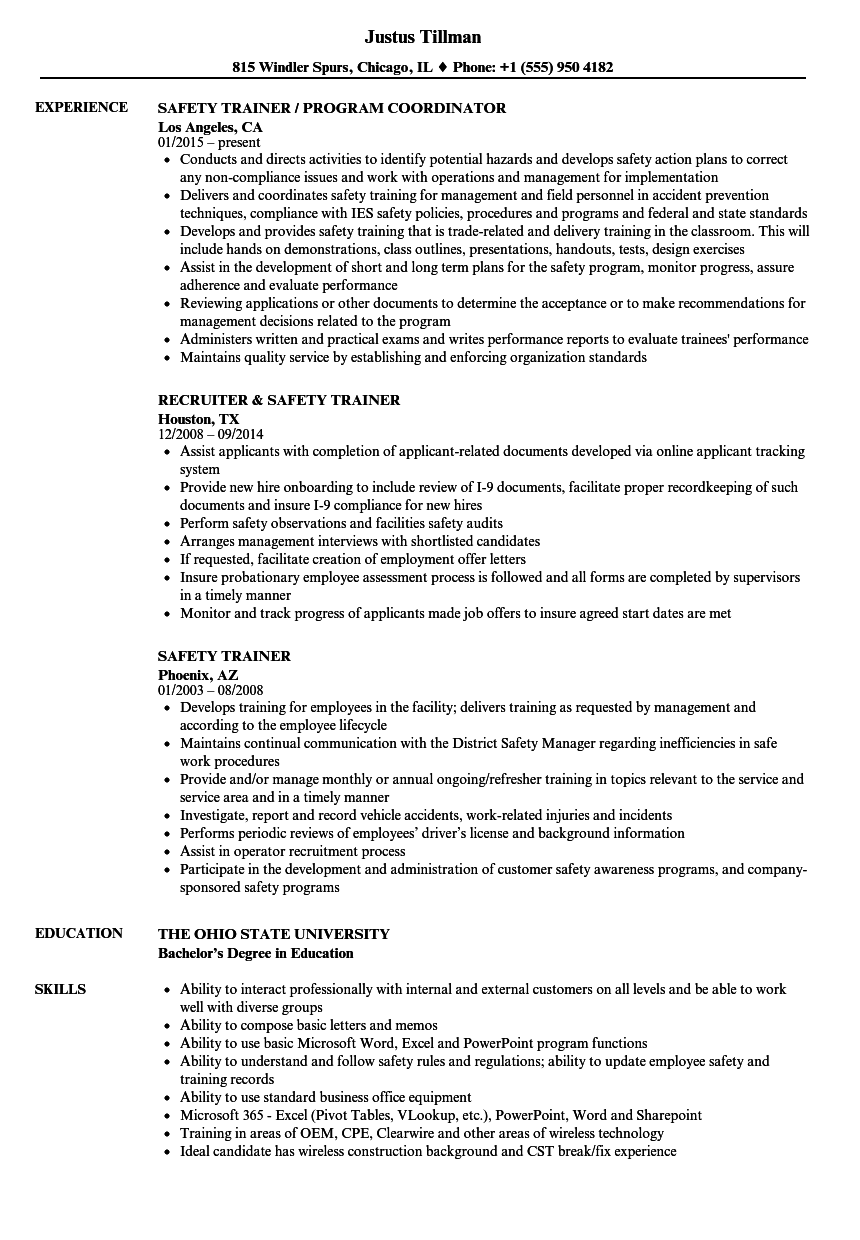 safety trainer resume samples