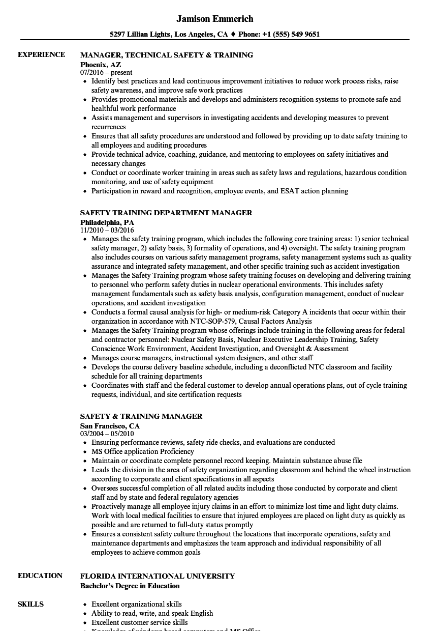 Safety & Training Resume Samples | Velvet Jobs
