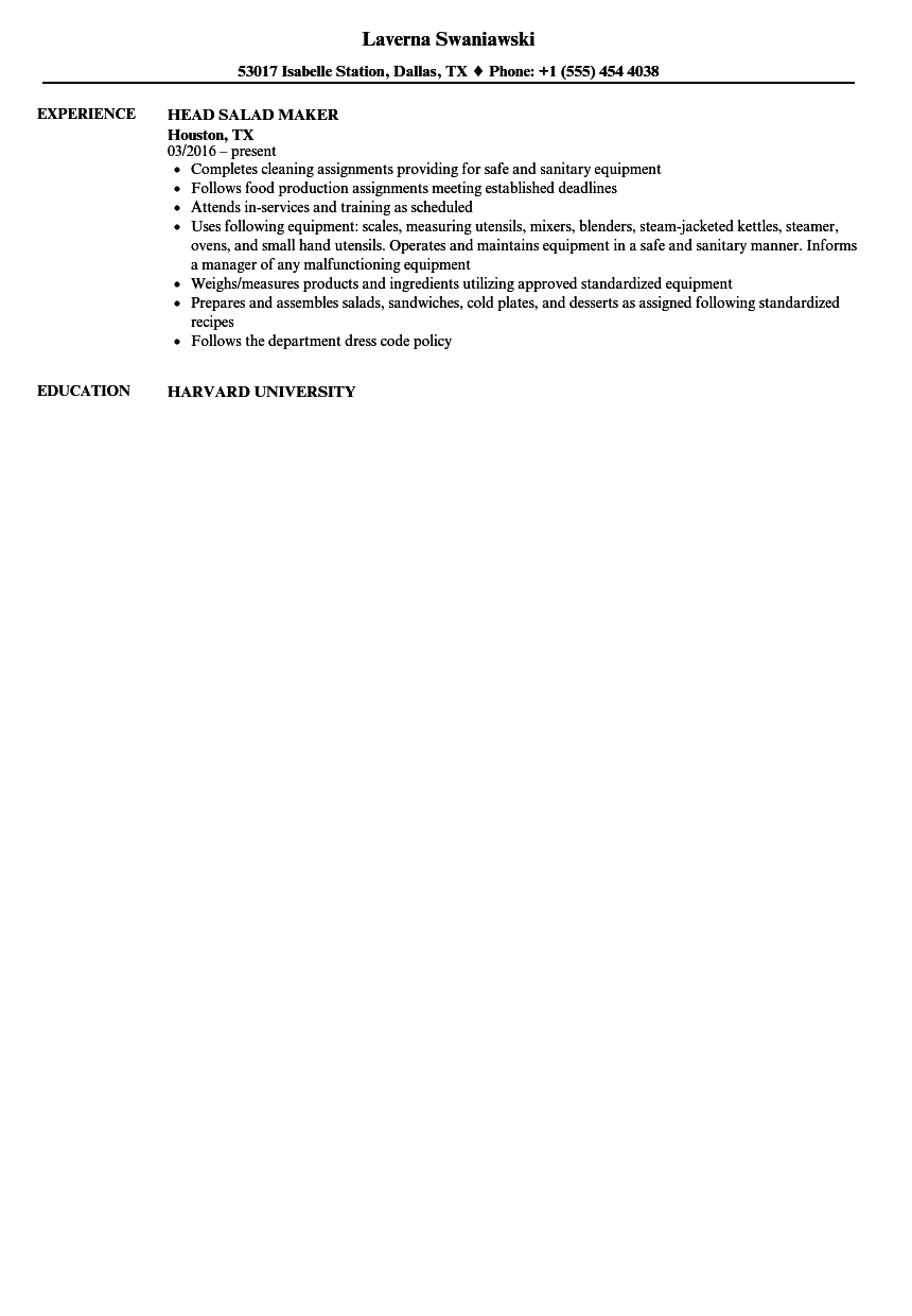 Download Salad Maker Resume Sample As Image File