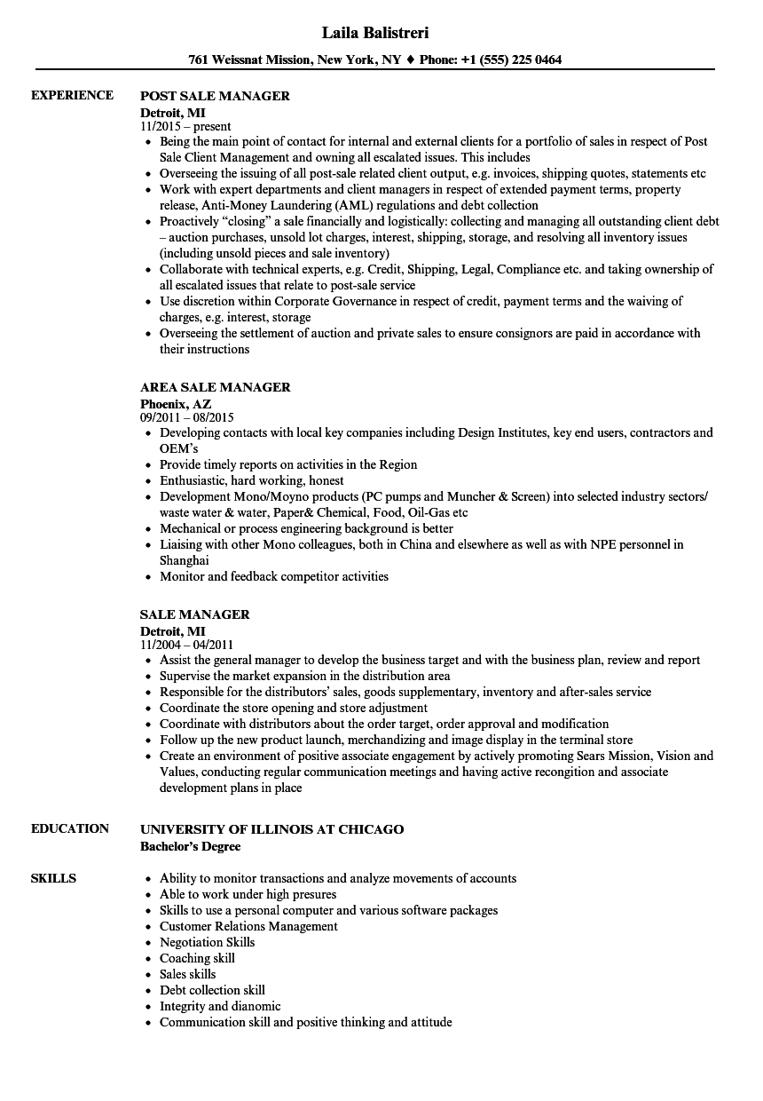 sale manager resume samples velvet jobs