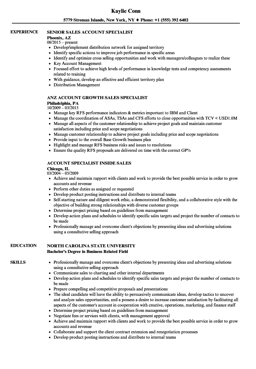 Sales Account Specialist Resume Samples Velvet Jobs