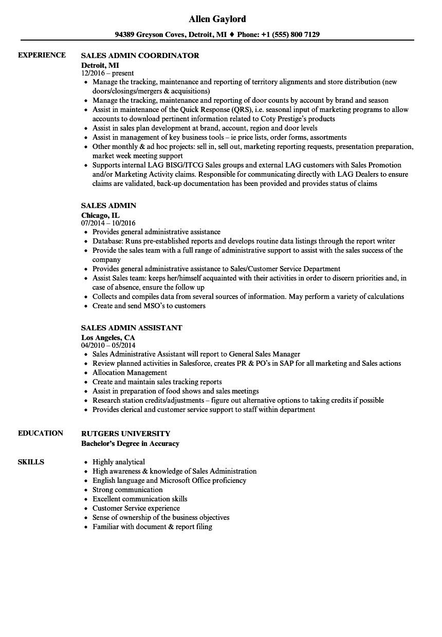 Sales Admin Resume Samples | Velvet Jobs