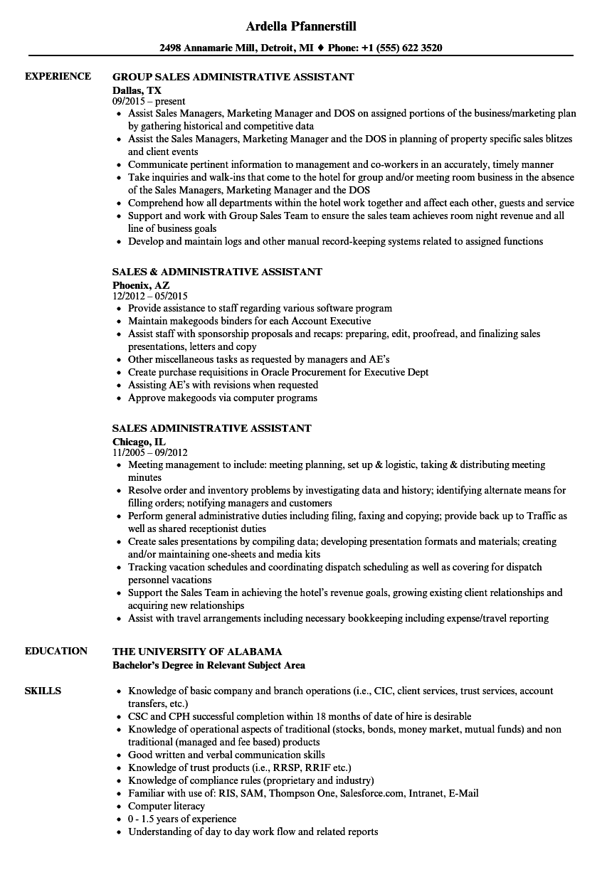 Download Sales / Administrative Assistant Resume Sample As Image File