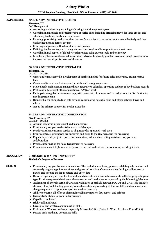 download sales administrative resume sample as image file - Administrative Resume Samples