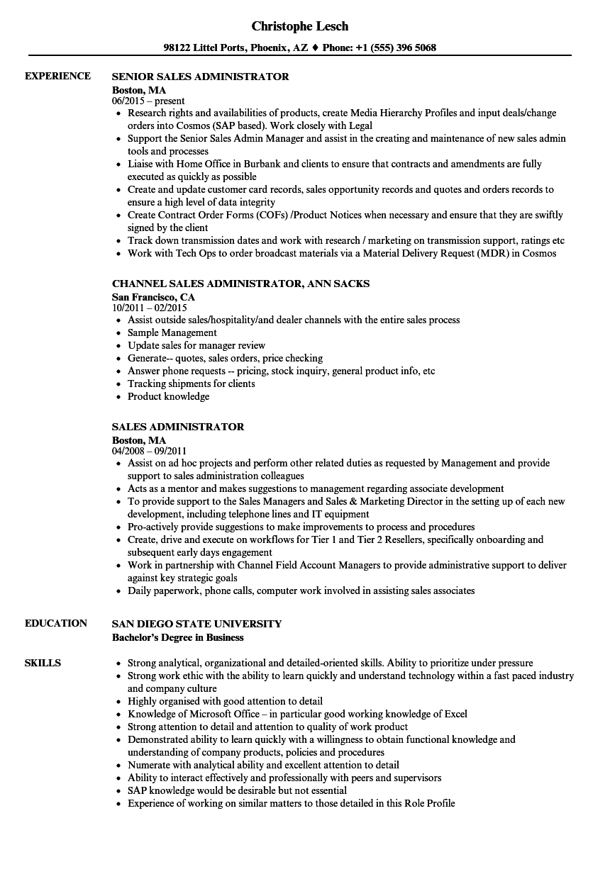 Sales Administrator Resume Samples Velvet Jobs