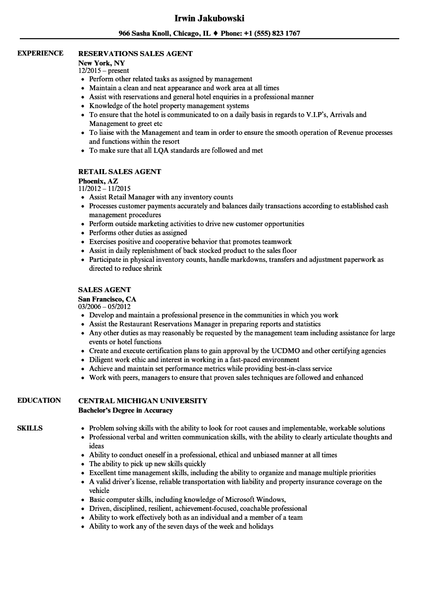 Sales Agent Resume Samples | Velvet Jobs