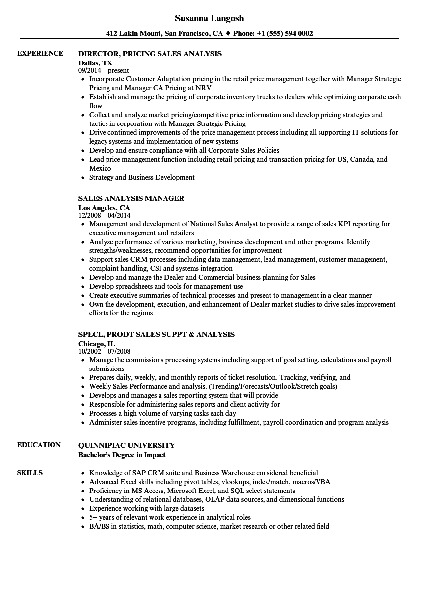 download sales analysis resume sample as image file - Excel Skills Resume Examples