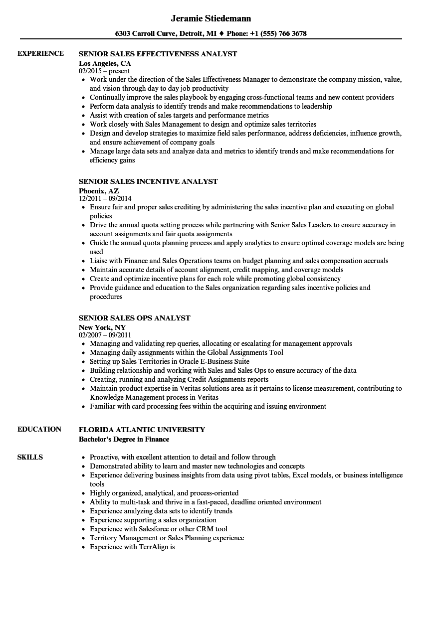Sales Analyst Senior Resume Samples Velvet Jobs