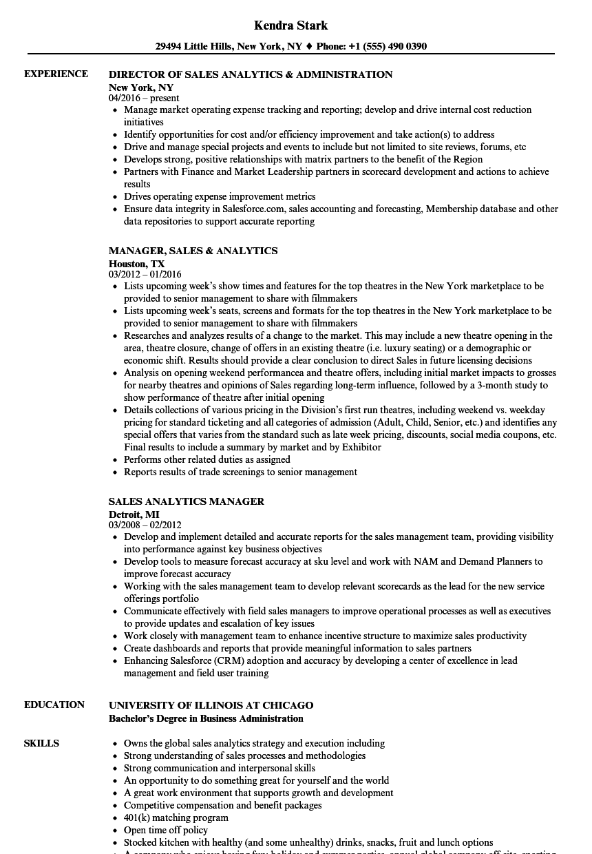 Sales Analytics Resume Samples | Velvet Jobs