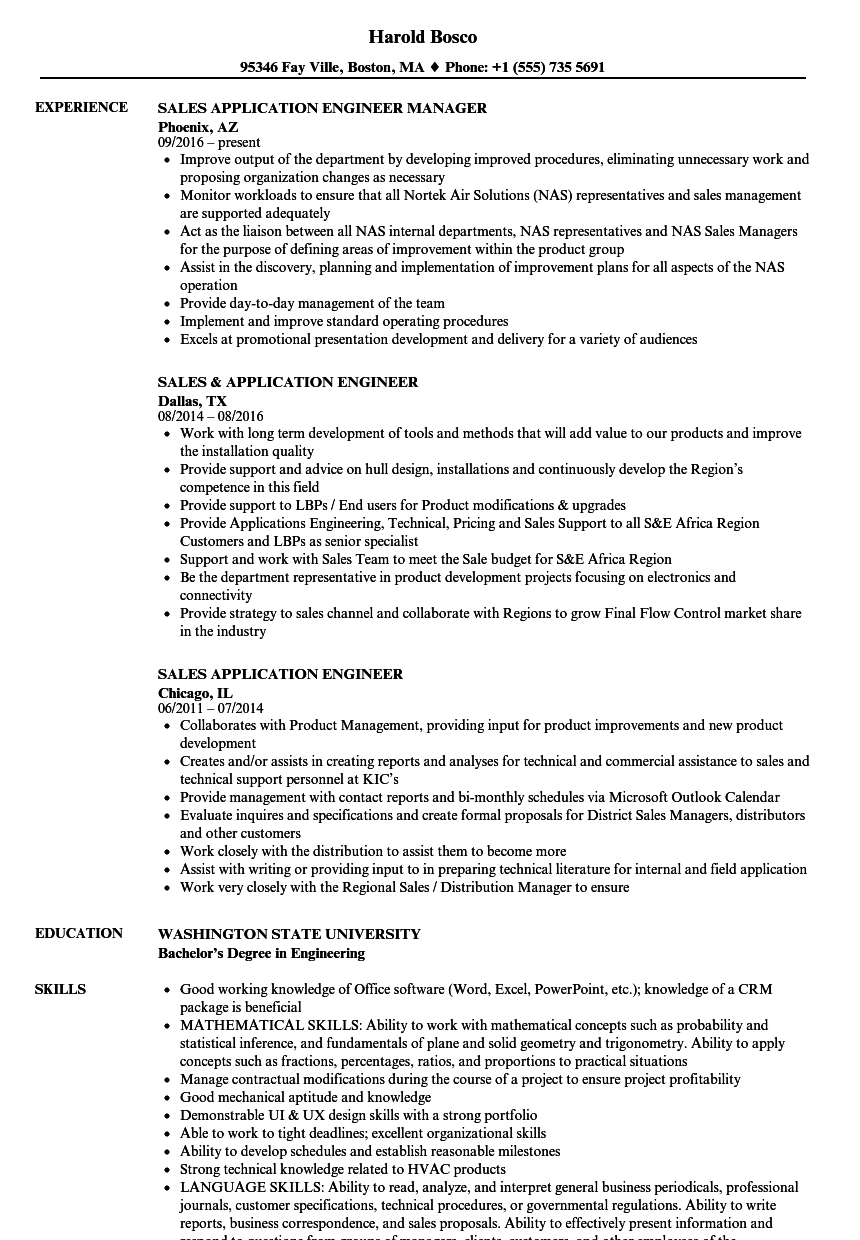 Sales Application Engineer Resume Samples Velvet Jobs