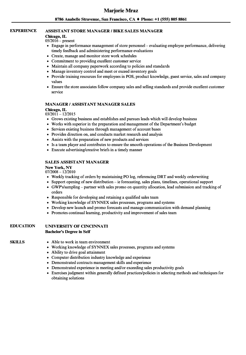 Download Sales Assistant Manager Resume Sample As Image File  Assistant Store Manager Resume