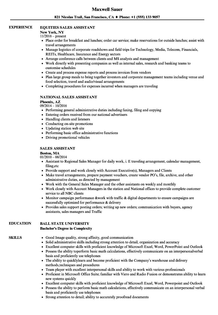 Sales Assistant Resume Samples | Velvet Jobs