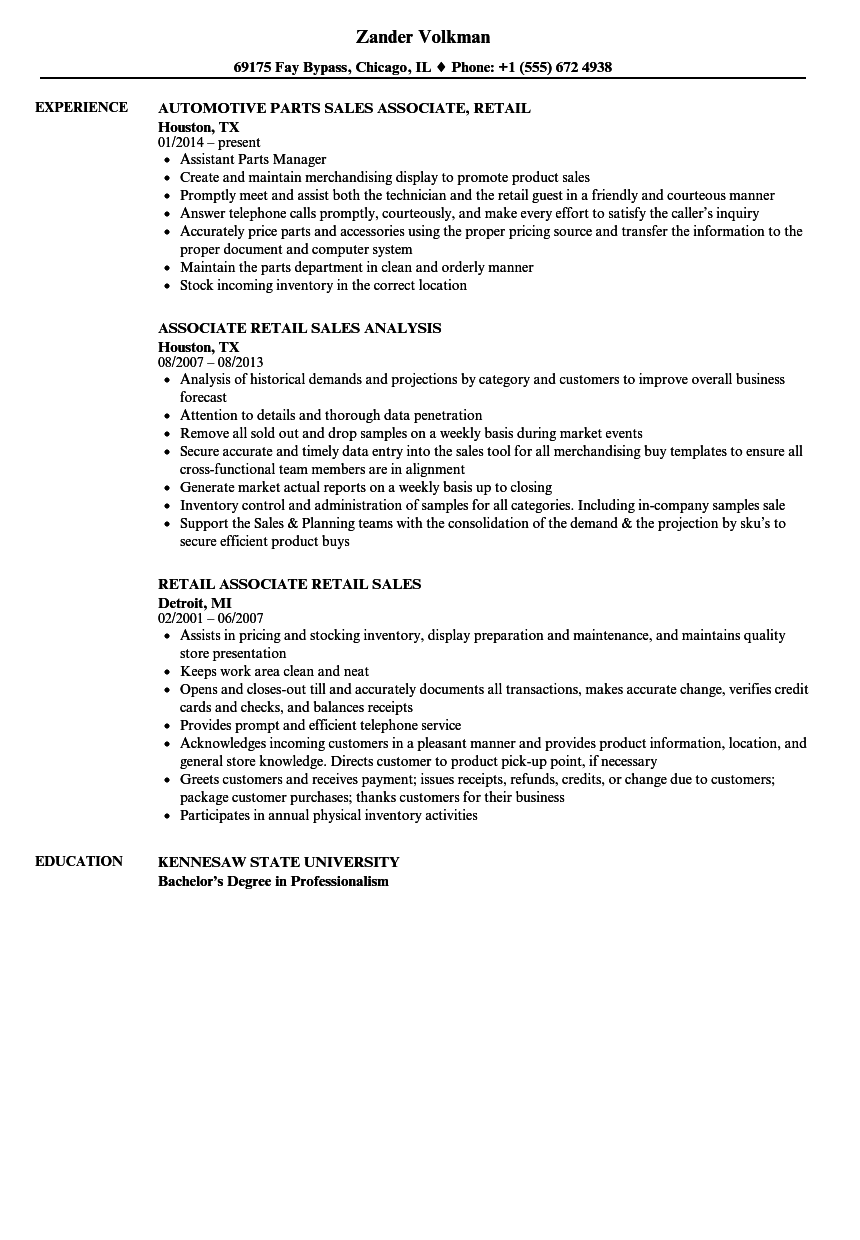 Retail Resume | Sales Associate Retail Resume Samples Velvet Jobs