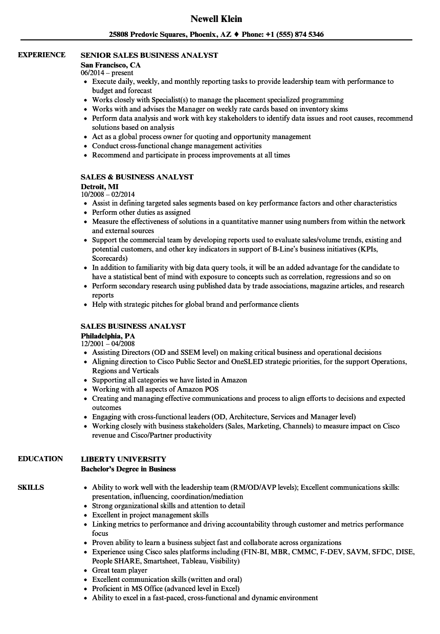 Sales Business Analyst Resume Samples Velvet Jobs