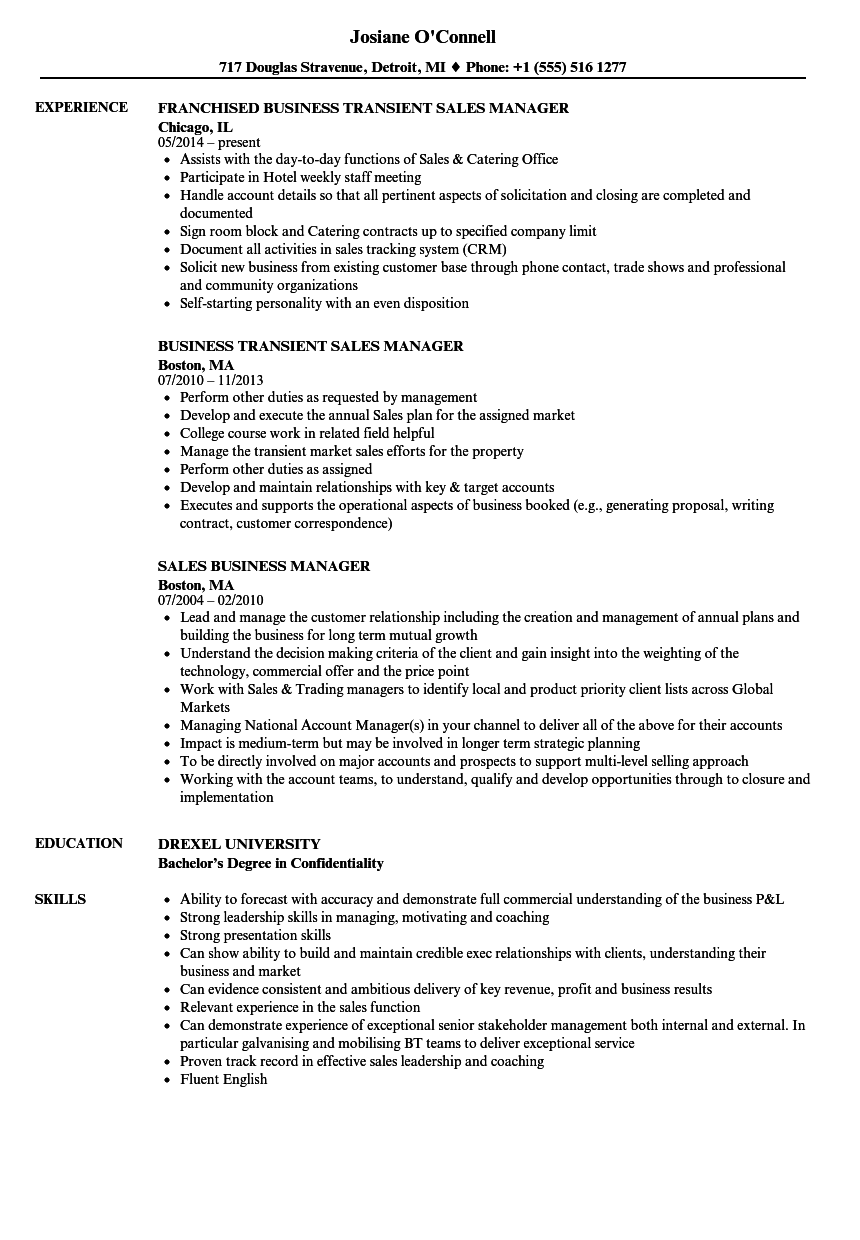 Sales Business Manager Resume Samples | Velvet Jobs