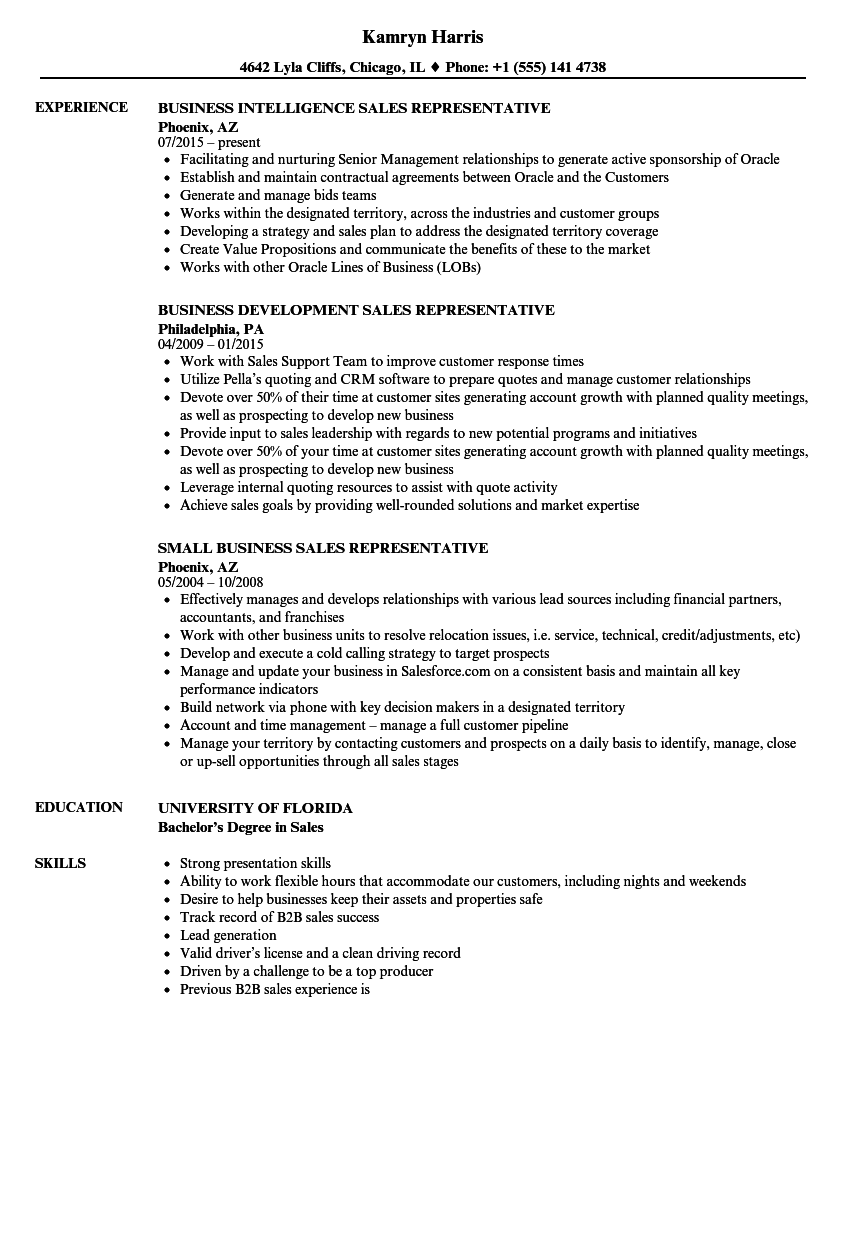 sales business sales representative resume samples