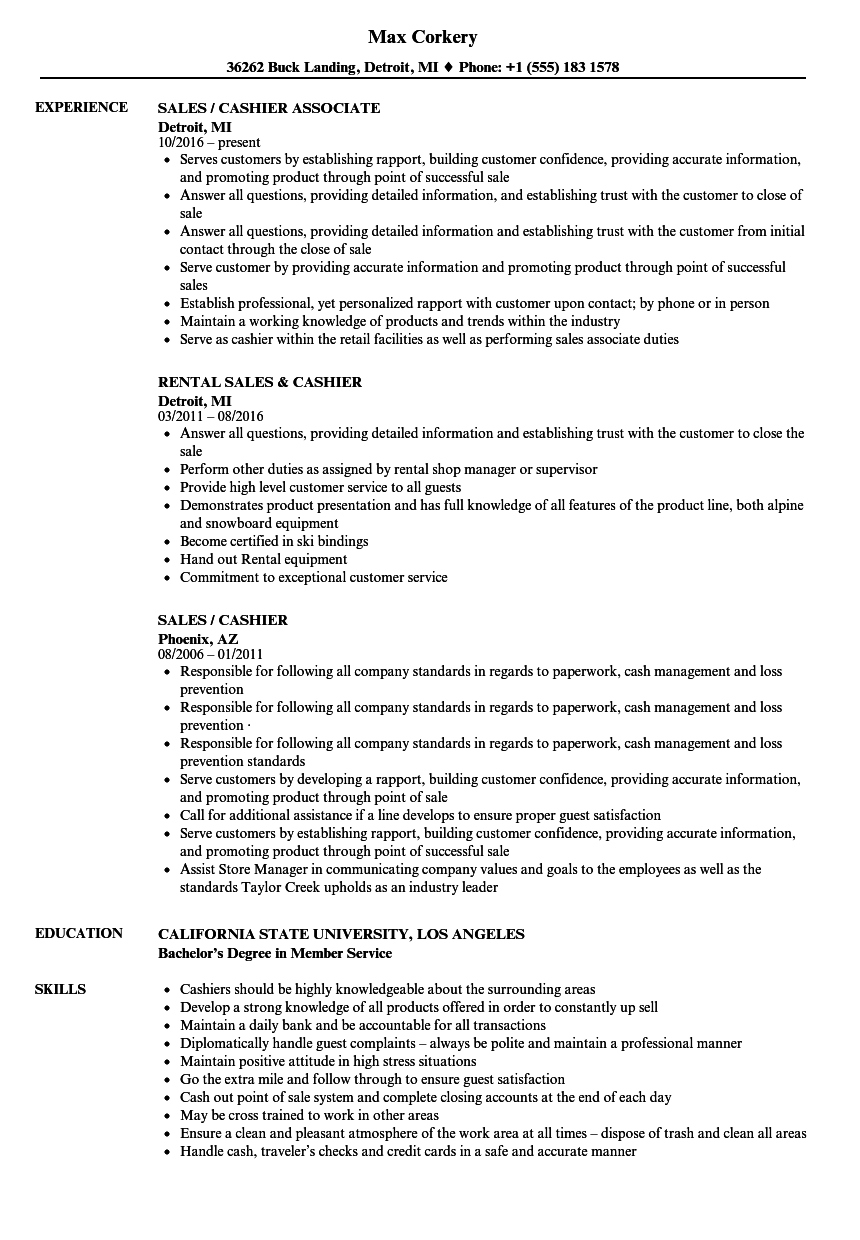 Sales / Cashier Resume Samples | Velvet Jobs