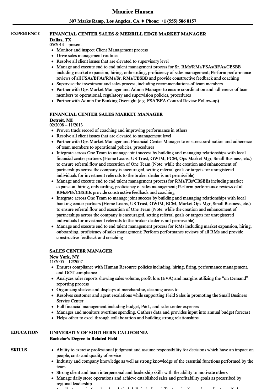 sales center manager resume samples velvet jobs