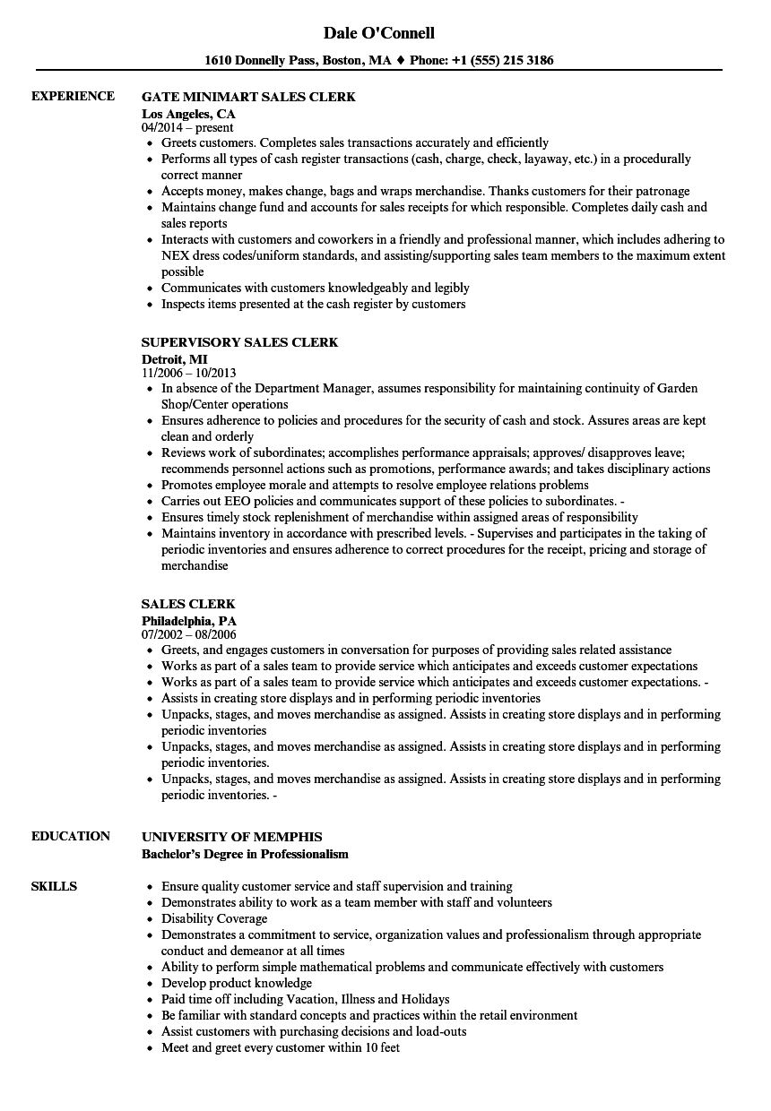 Download Sales Clerk Resume Sample As Image File