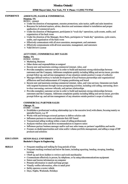 Sales & Commercial Resume Samples | Velvet Jobs