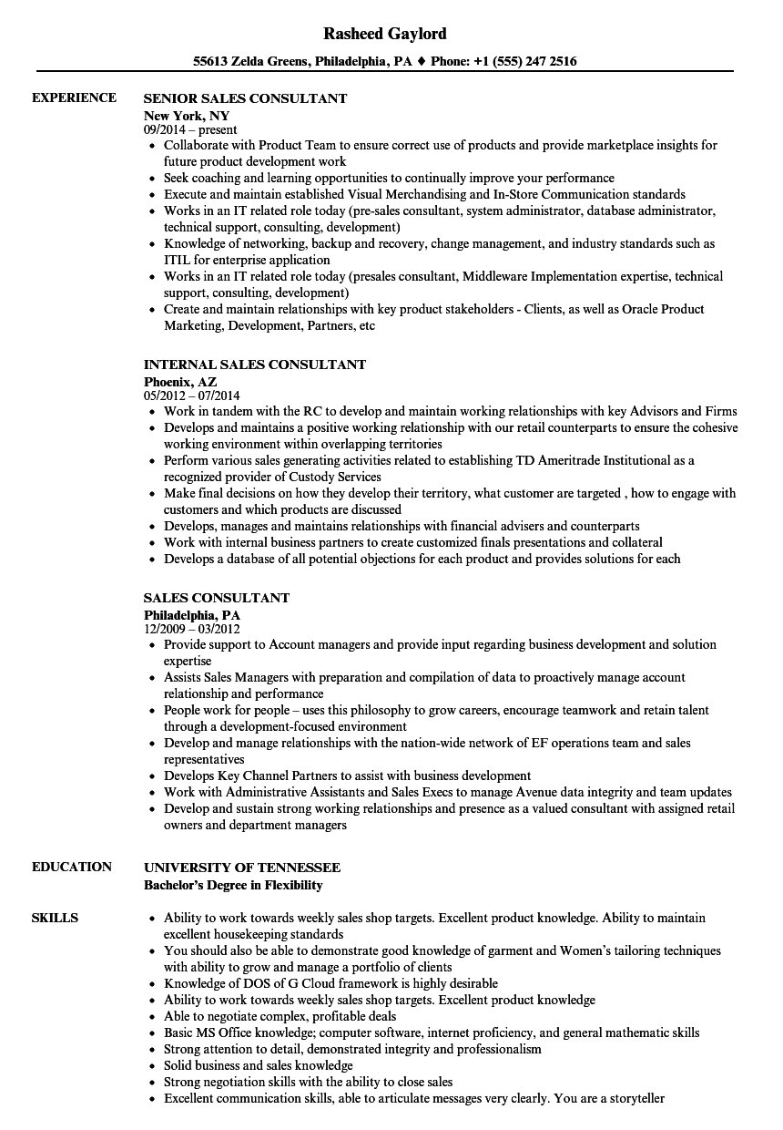 Sales Consultant Resume Samples | Velvet Jobs