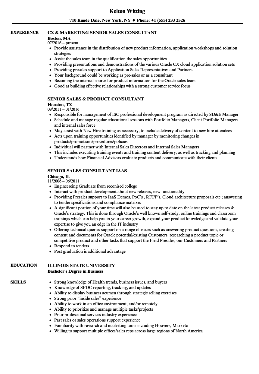 download sales consultant senior sales consultant resume sample as image file - Product Consultant Sample Resume