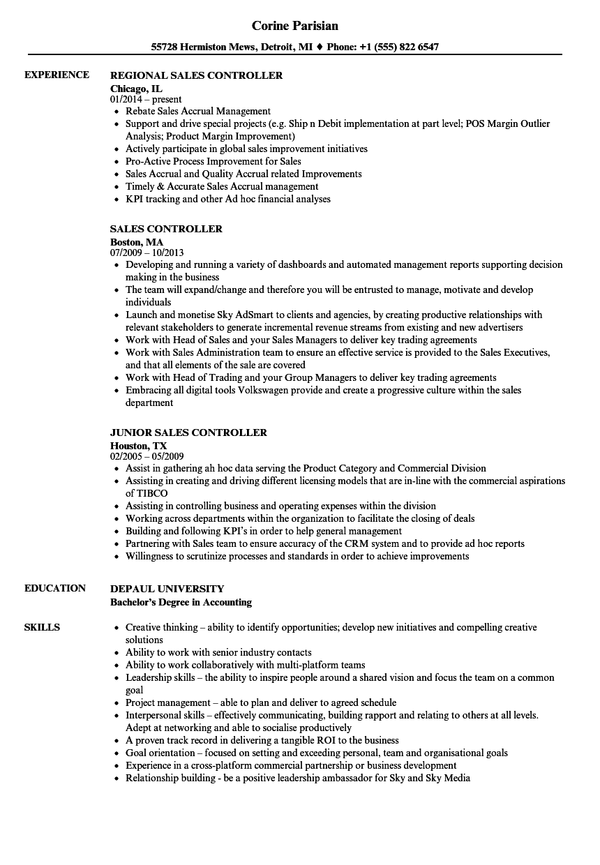 sales controller resume samples velvet jobs