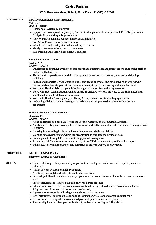 Sales Controller Resume Samples | Velvet Jobs