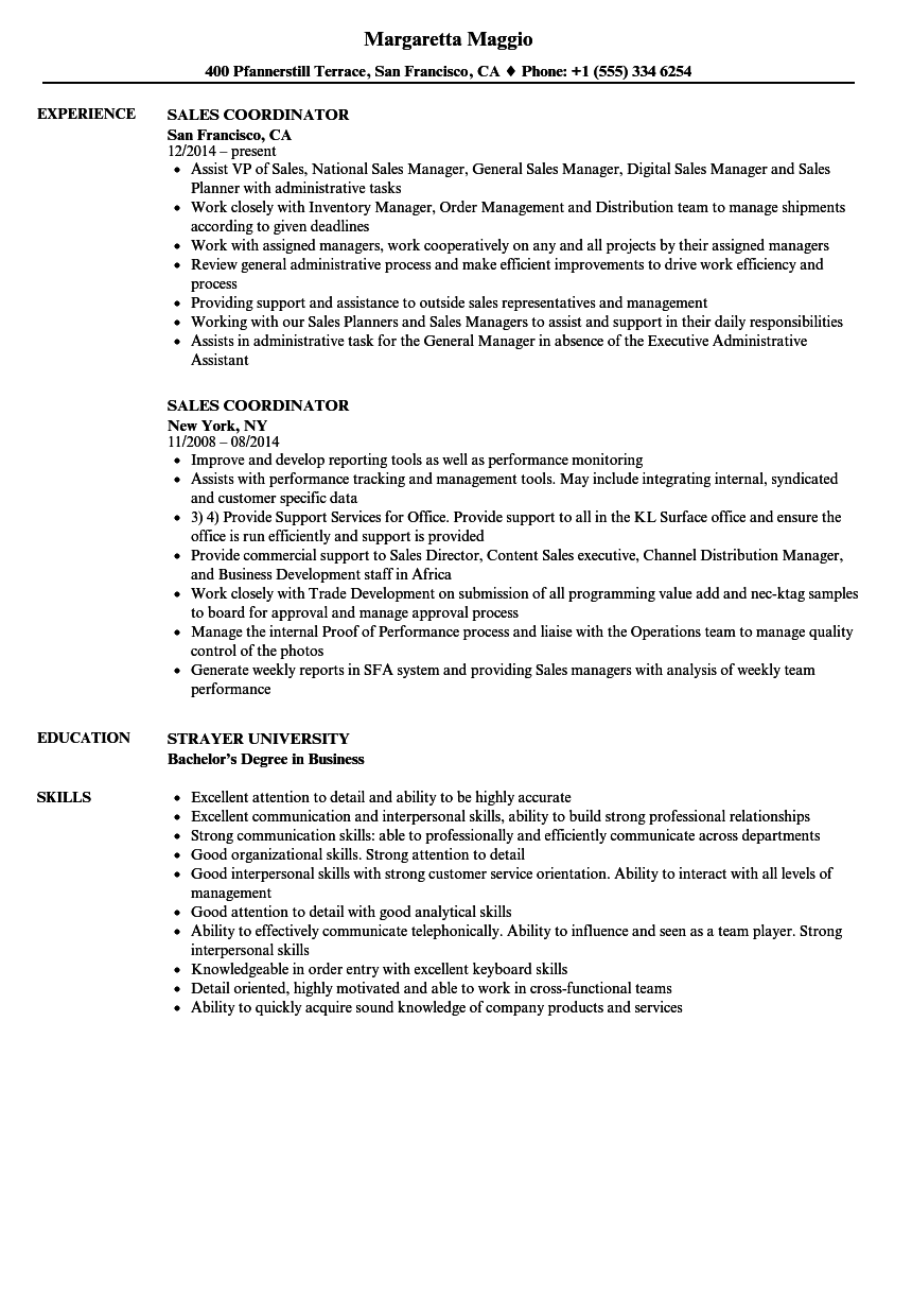 Sales Coordinator Resume Samples | Velvet Jobs