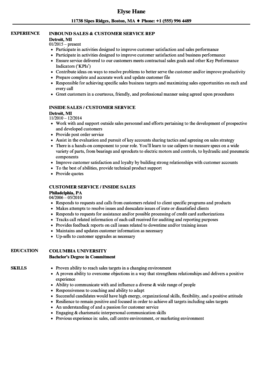 sales  u0026 customer service resume samples