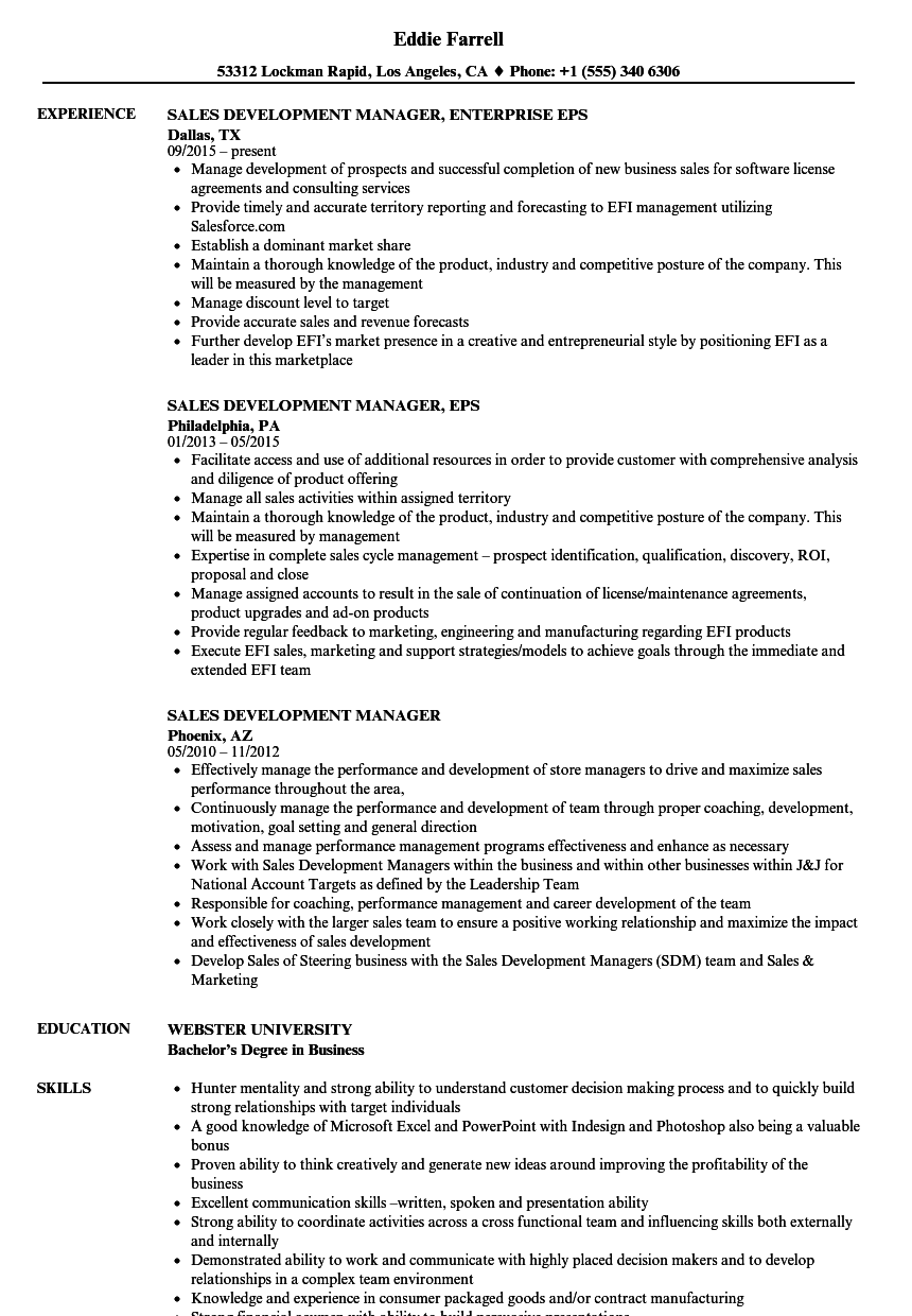 sales development manager resume samples