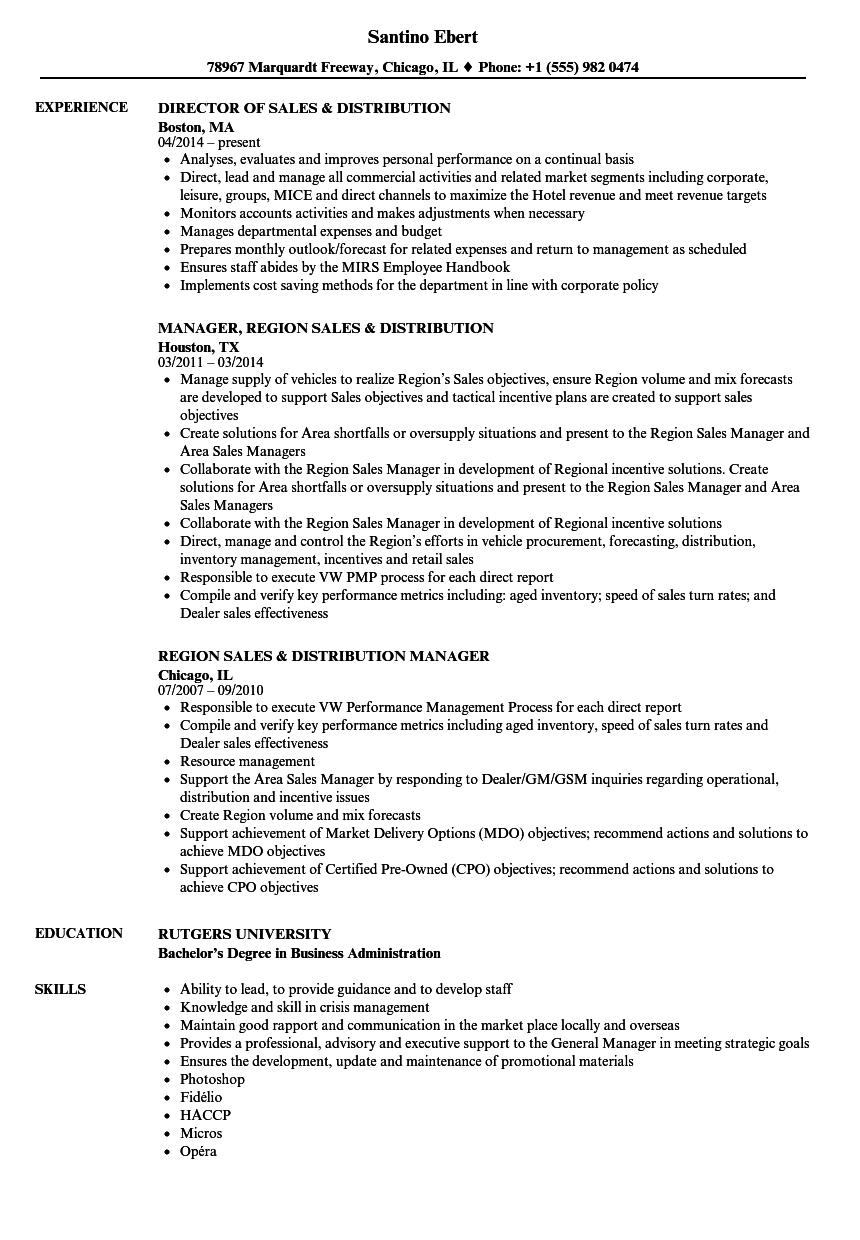 sales  u0026 distribution resume samples