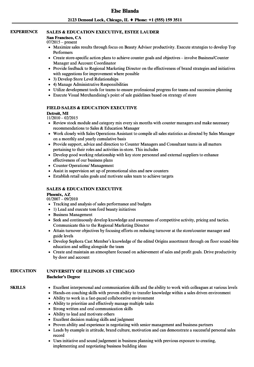 Sales Education Executive Resume Samples Velvet Jobs