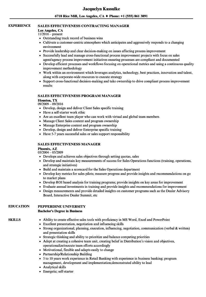 sales effectiveness manager resume samples