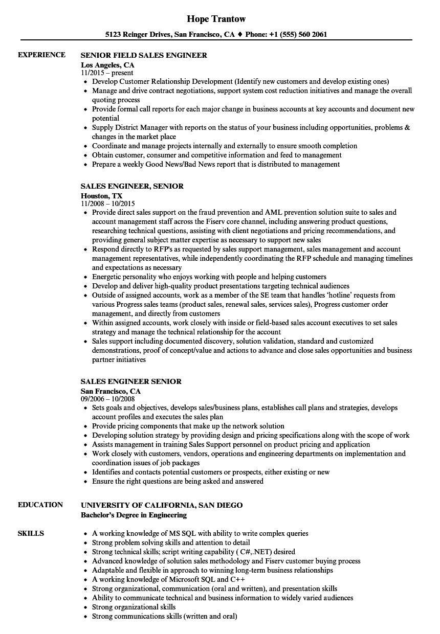 sales engineer  senior resume samples