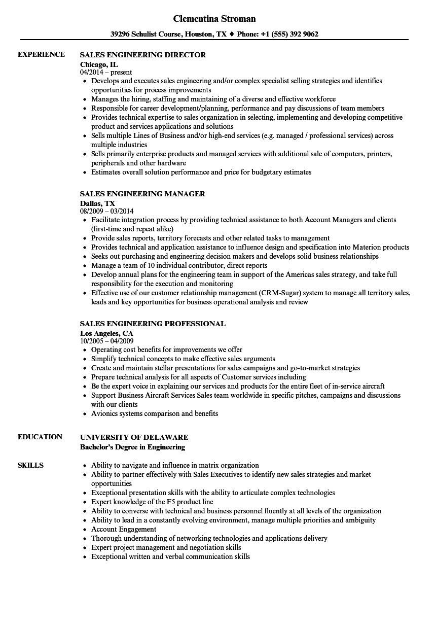 Sales Engineering Resume Samples | Velvet Jobs