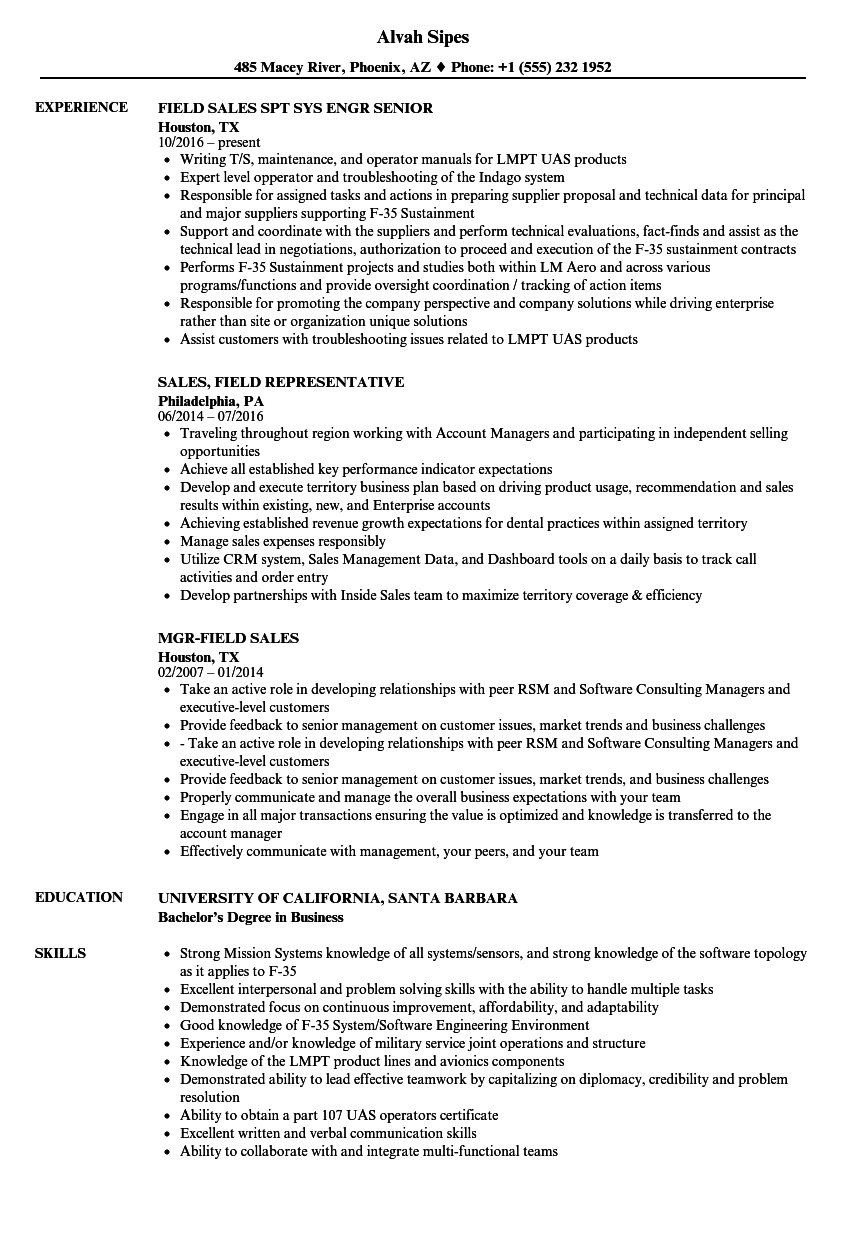 Sales Field Resume Samples Velvet Jobs
