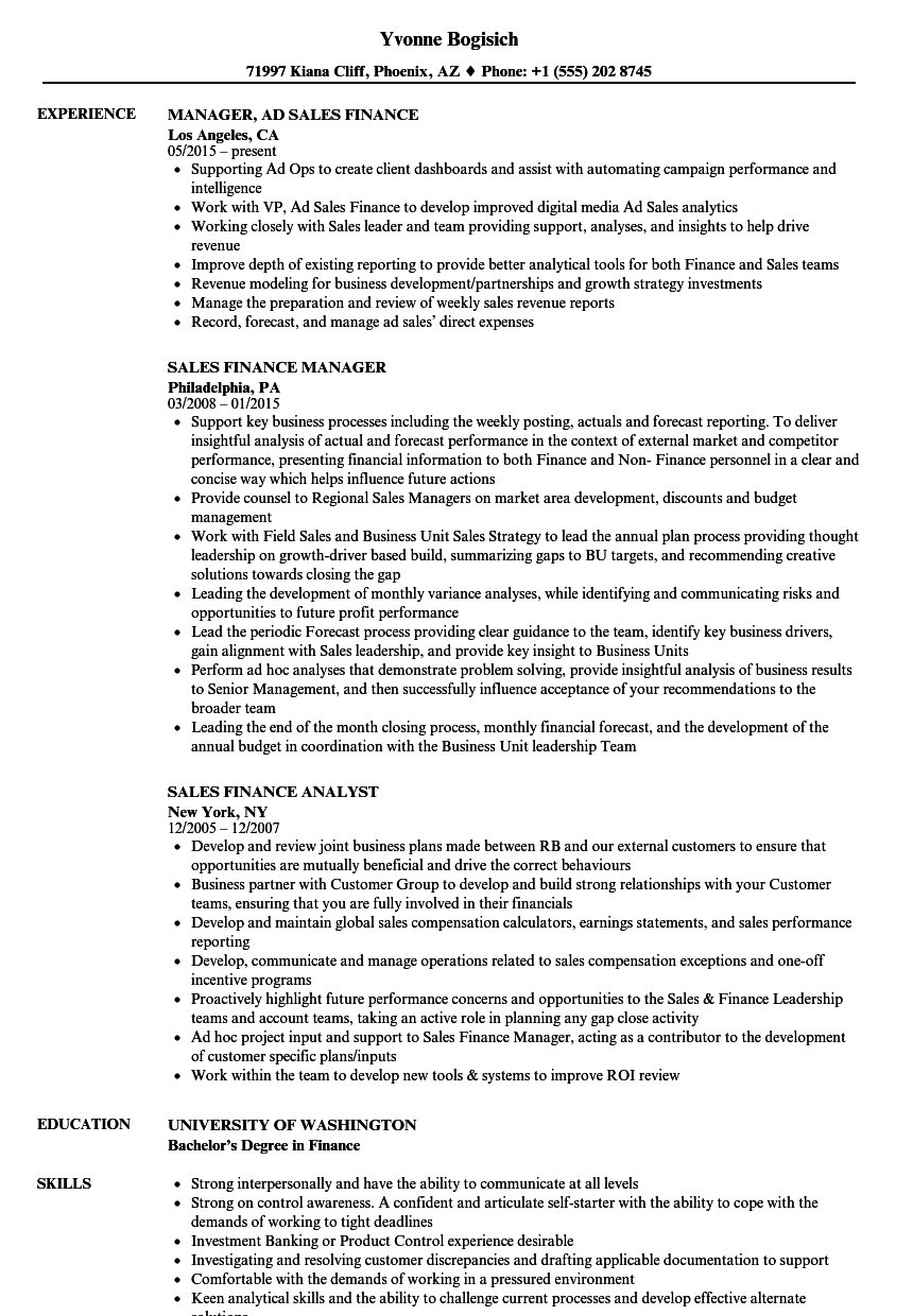 Sales Finance Resume Samples Velvet Jobs
