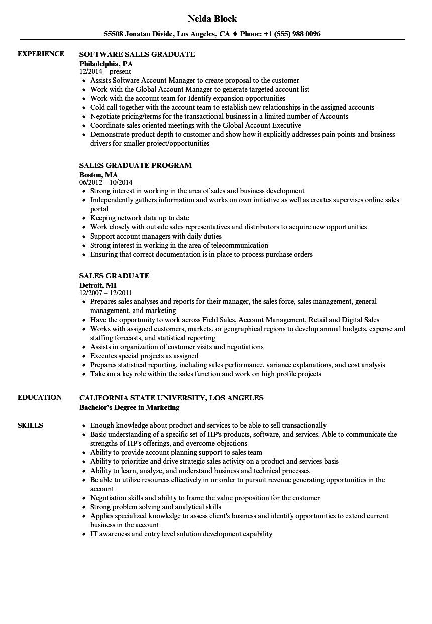 Download Sales Graduate Resume Sample As Image File  Graduate School Resume Sample