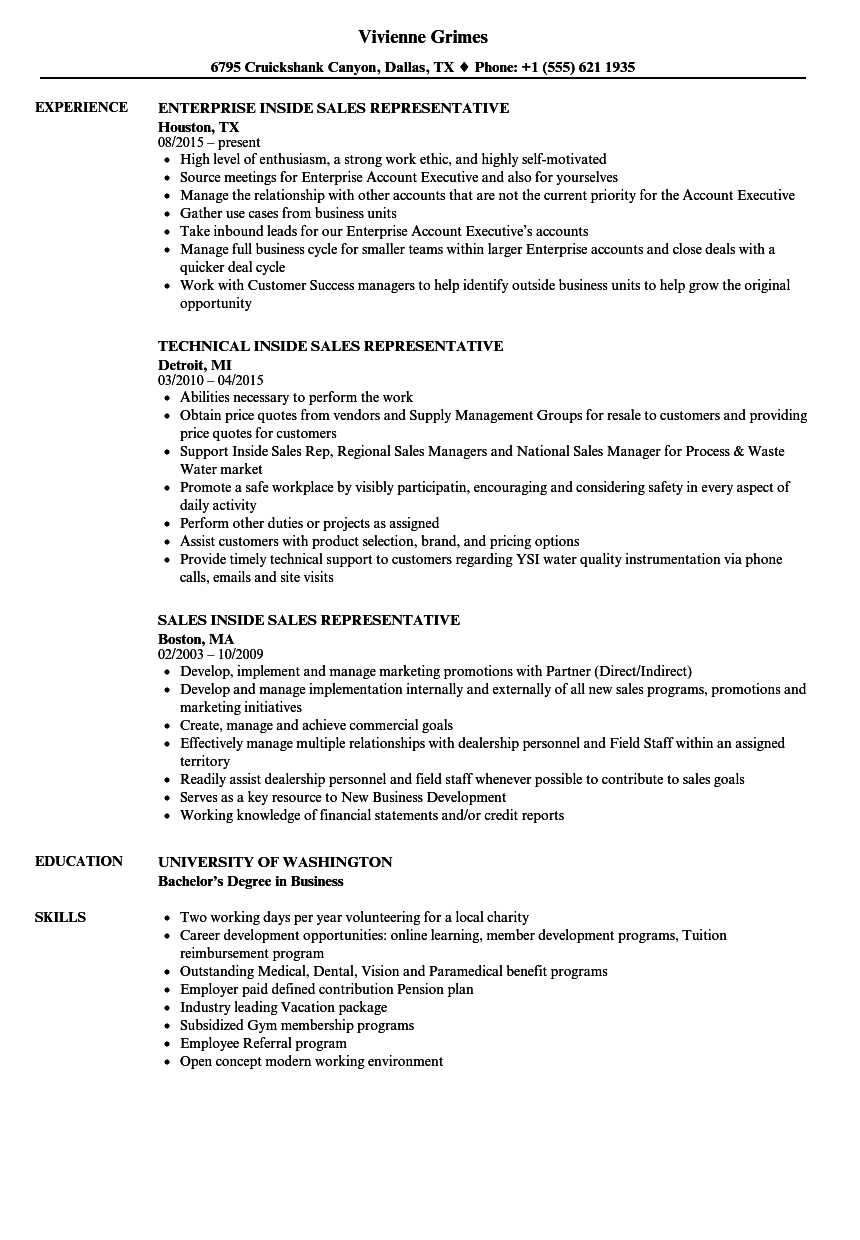 sales inside sales representative resume samples